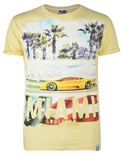 Soul Star Rundhalsausschnitt MT HEATIVE Miami Beach Auto Cruise Print T-Shirt Gelb