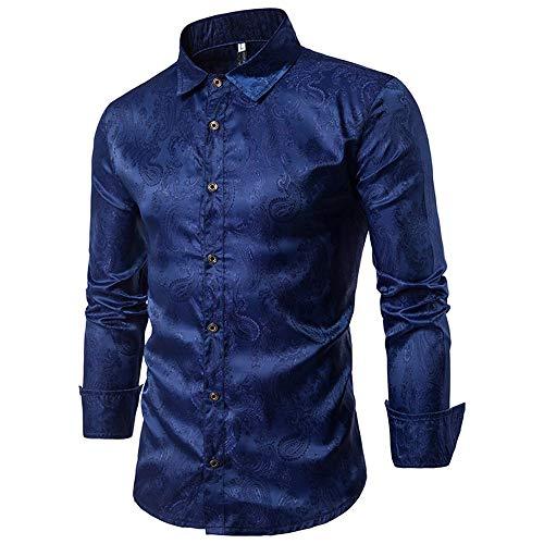Allthemen Herren Paisley Hemd Langarm Jacquard Hemd für Männer Regular Fit Stickerei Freizeithemd Dunkelblau 2XL