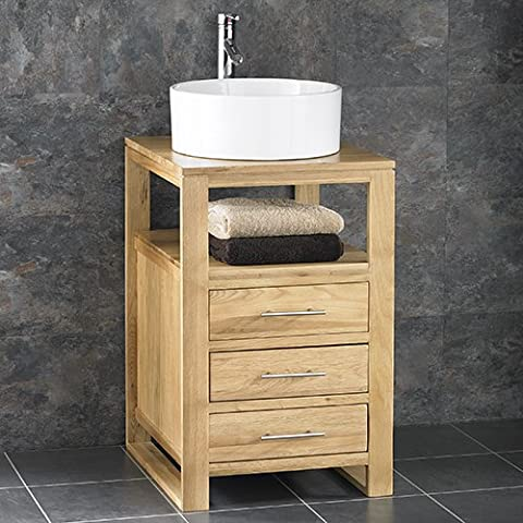 Clickbasin Cube Solid Oak 50cm Wide Three Drawer Single Sink