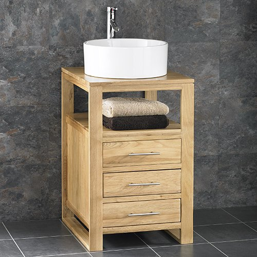 cube solid oak 50cm wide three drawer single sink bathroom cabinet