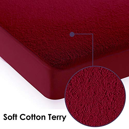 """Dream Care Waterproof Dustproof Terrycloth Cotton Mattress Protector for Queen Size Bed (Maroon, 78"""" x 60"""") Image 4"""