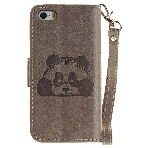 iPhone Case Cover IPhone SE 5S Case, couleur unie 3D Cute Panda Embossed Housse en cuir PU avec Lanyand Card Slots pour iPhone SE 5S ( Color : 1 , Size : IPhone SE 5S ) 1