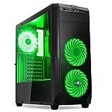 ROGUE I Red:Gaming-PC-Gehäuse Schwarz/Rot mATX/ATX–SD/microSD-Kartenleser–7Erweiterungssteckplätze–3Lüfter mit LED grün grün Norme