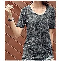 TAIDUJUEDINGYIQIE Camiseta de Manga Corta para Mujer Suelta Sólida Verano, Gris, XL