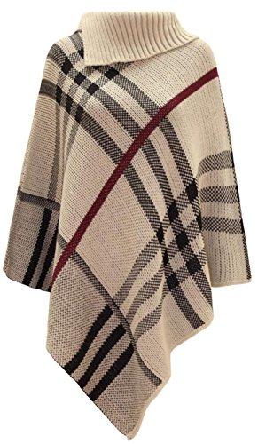 LCL-Nuovo Donne Berry Controllare Tartan lavorato a maglia Poncho scialle dell'involucro del ponticello del pullover Top (Taglia unica, Di pietra)