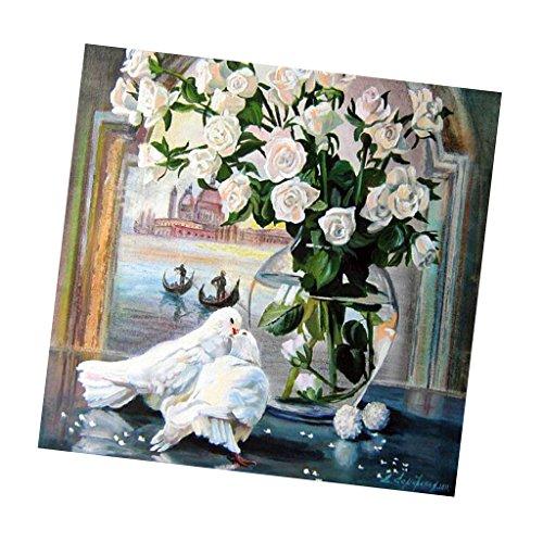 D DOLITY DIY 5D Diamant Painting Kit Kristall Diamant Strass Mosaik Malerei Malen nach Zahlen für HBasteln Handwerk Home Dekoration - Taube und Vase
