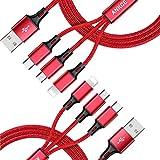 2Pack Câble USB multi, Câble de chargeur USB ANKCE 3 en 1, Câble USB tressé en...