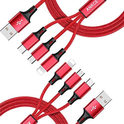 2Pacchi Multi Cavo USB -ANKCE- 3 in 1 Micro USB Nylon Intrecciato Cavo di Ricarica USB per iPhone Xr/ Xs/ X/ 8/ 7, iPad, Samsung Galaxy S9/Note 9, Huawei Honor, Xiaomi, Kindle MP3, MP4