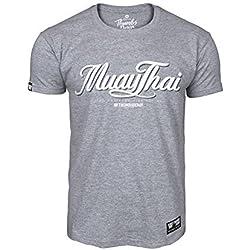 Pulgares Down Muay Tailandés Camiseta Tailandia Patada Boxeo MMA. Gimnasio Entrenamiento. Marcial Artes Informal - Gris, Large