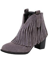UH Damen Blockabsatz Sommer Stiefeletten Cut Out Stiefeletten mit Fransen Fashion Schuhe