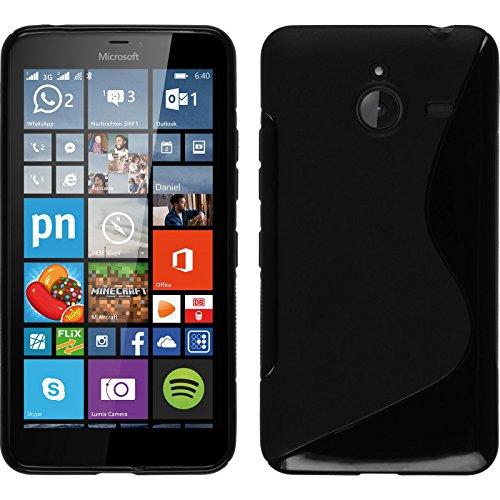 Funda de silicona para Microsoft Lumia 640 XL - S-Style negro - Cover PhoneNatic Cubierta + protector de pantalla