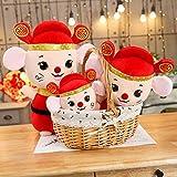 qingbaobao Kawaii China Dress Mascot Rat Red Mouse Giocattoli di Peluche, Capodanno Mascot Party Decor Regalo Morbido Peluche Bambola Giocattolo, Ragazza Capretti Regalo di Capodanno 35 Cm 1 Pz