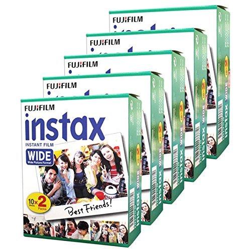 Fujifilm Instax Wide-Lot de 5boîtes de 20pellicules (100photos format large) pour appareil photo instantané Fuji Instax 210 200 100 300