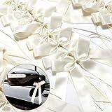 50 x Antennenschleifen Cream Autoschmuck Autoschleifen Hochzeit