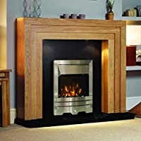 Electric Oak Wood Surround Black Modern Silver Brushed Steel Pebble Coal Fire Fireplace Suite Lights Spotlights 48""