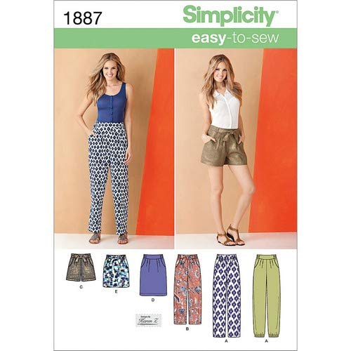 Simplicity 1887.k5Schnittmuster Hosen und Röcke Größe, 8–10–12–14–16
