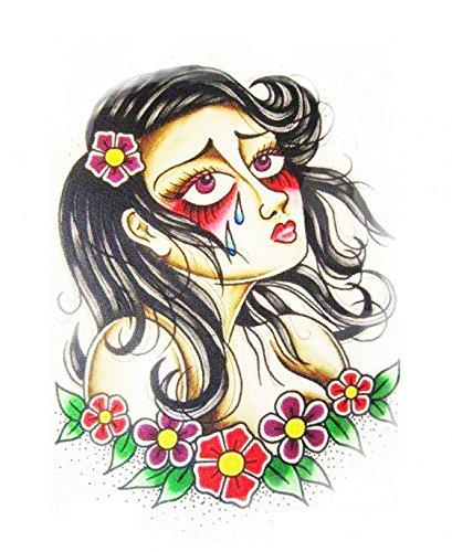 Imperméable et non toxique Halloween tatouage triste fille pleure autocollant de tatouage temporaire faux