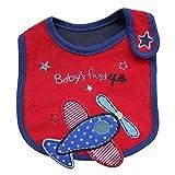 mxdmai Baby Lätzchen Wasserdichte Baumwolle Lätzchen für Baby Jungen Mädchen zum Sabbern und Zahnen (Flugzeug Sterne Muster)