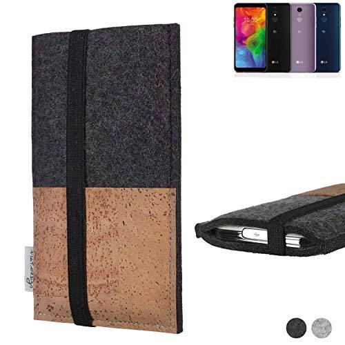 flat.design Handy Hülle Sintra für LG Electronics Q7 Alfa Handytasche Filz Tasche Schutz Kartenfach Case Natur Kork