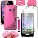 ebestStar - Coque Samsung WAVE Y S5380 [Dimensions PRECISES de votre appareil : , écran ''] - Housse Etui Coque Silicone Gel Motif S-line Souple + Mini Stylet tactile + 3 Films protection écran, Couleur Rose