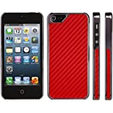 DONZO Carbon-Style Tasche Etui Back Cover für Apple iPhone 5 / 5S - chrom rot