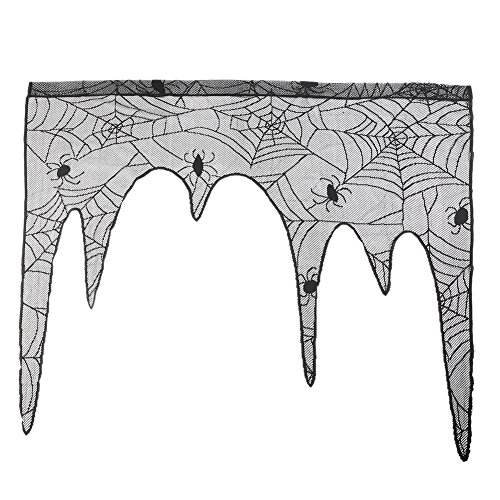 Bornbayb Halloween Lace Lamp Shades Spiderweb Fireplace Mantle Scarf Cover Tablecloth Window Curtain for Halloween Party