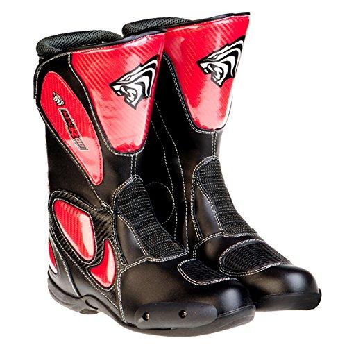 KENROD stivali di pelle moto per uomini e donne Colore nero-rosso Taglia 40