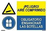 movilcom®–adesivo Combinato ¡Pericolo. Aria compressa/uso obbligatorio di agganciare bottiglie 600x 400mm segnale informativa (rif. prd2202082)