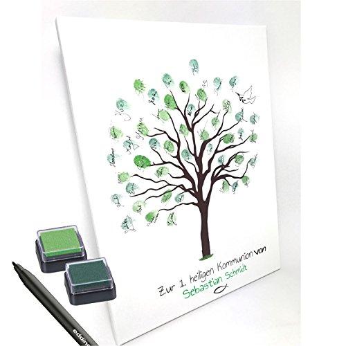 Personalisierte Leinwand zur Kommunion -Motiv Baum- ALS Gästebuch für Fingerabdrücke (30x40cm, inkl. Stift + Stempelkissen) (mit Name)