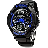 Digital-analog Boys Girls Sport Digital Watch with Alarm Stopwatch Chronograph - 50m Water Proof (blue)