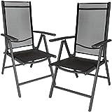 TecTake Set di 2 alluminio sedie da giardino pieghevole con braccioli grigio scuro/nero
