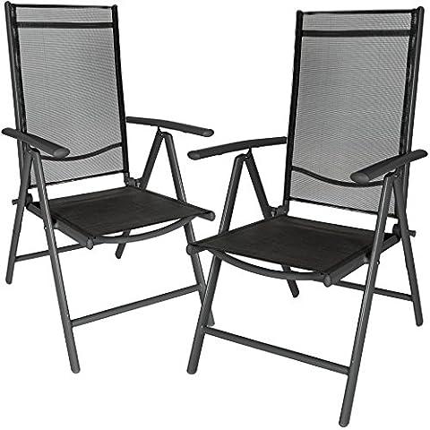 TecTake Juego de 2 Aluminio Sillas de jardín plegable con reposabrazos antracita/negro