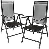 TecTake Set di 2 alluminio sedie da giardino pieghevole con braccioli grigio scuro/nero immagine