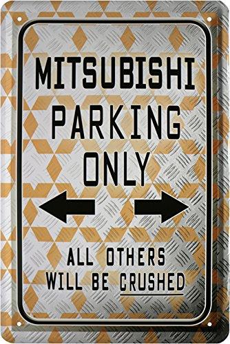 mitsubishi-plaque-de-20-x-30-pour-voiture-parking-only-retro-tole-525