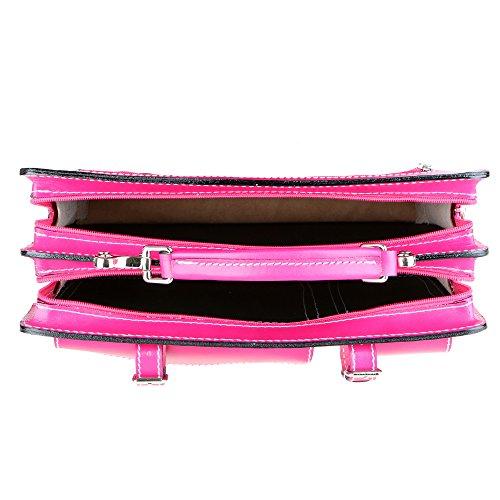 Chicca Borse Unisex Aktentasche Organizer Handtasche Mittlere Maß mit Schultergurt aus echtem Leder Made in Italy 34x24x12 Cm Fuchsie
