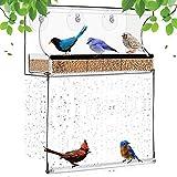 Explea Mangiatoia per Uccelli per Finestre con Ventose E Vassoio per Semi, Gabbia per Uccelli in Acrilico Trasparente per Giardino Esterno