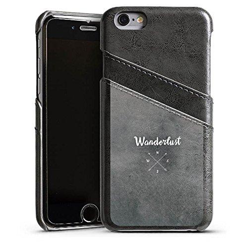 Apple iPhone 7 Lederhülle Leder Case Leder Handyhülle Kompass Reise reiselust Leder Case Sierragrau
