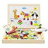 Lewo Wooden Magnetic Double Side Drawing Easel Educational Toys Blackboard Doodle Animals Puzzle Games for Kids