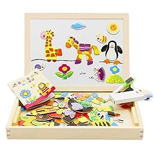 lewo magnetisches holzpuzzle staffelei tierformen holzbrett puzzle aus holz doppelseitiges tafel. Black Bedroom Furniture Sets. Home Design Ideas