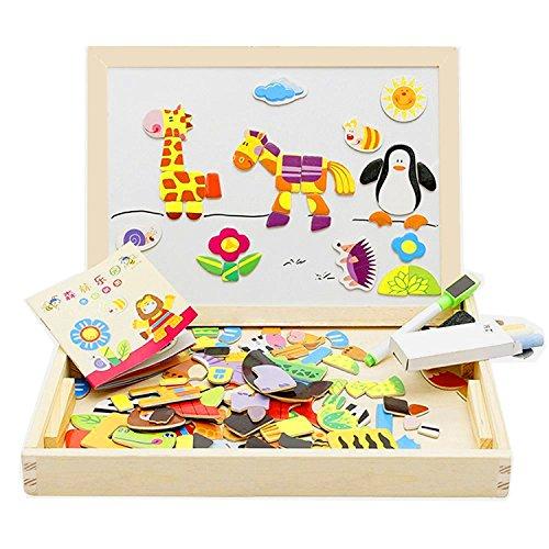 Magnetische Kleinkind Zeichnung (Lewo Magnetisches Holzpuzzle Staffelei Tierformen Holzbrett Puzzle aus Holz Doppelseitiges Tafel Holzspielzeug pädagogisches Lernspielzeug für Baby Kleinkinder ab 3 Jahre)