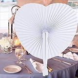 INNOCHEER 60 Stücke handfächer, Papier und Plastik fächer für Hochzeit & Party (heart)