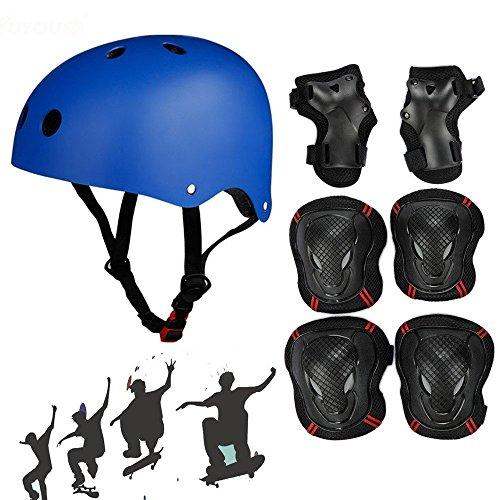 SymbolLife Casco Skateboard con Ginocchiere Dispositivi di Protezione Gomitiere Protezioni Polso per i Bambini BMX / Skateboard / Scooter S Blu