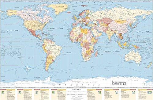 Columbus Terra Weltkarte: Politische und Physische Informationen, mit Fakten und Wissenswertem zu den Kontinenten an der Kartenunterseite 100 x 66 cm; 1: 40.000.000, gedruckt auf Spezialpapier