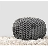 RAJRANG BRINGING RAJASTHAN TO YOU Large Grey Pouffe - (59x41 cm) Pouf Home Decorative for Living Room Perfect Outdoor Seating Knitted Pouffe for Rest