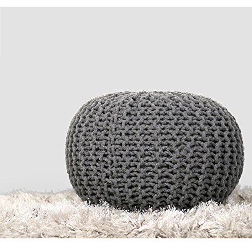 Rajrang Boho Home Decor Seating - Macrame Cotton Cord Pouf in tessuto per bambini decorativo Mobili per bambini Patio Pouf esterno - Grigio chiaro - 16 X 11 pollici