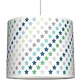 anna wand Lampenschirm STARS 4 BOYS TÜRKIS/GRÜN/GRAU - Schirm für Kinder/Baby Lampe mit Sternen in versch. Farben – Sanftes Licht für Tisch-, Steh- & Hängelampe im Kinderzimmer Mädchen & Junge