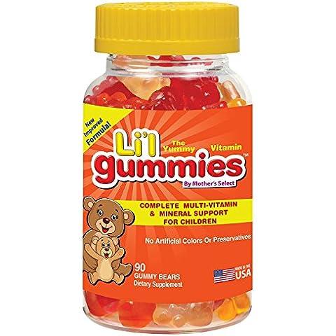 Mother's Select - Gominolas para niños - Soporte completo para niños con multivitaminas y hierro, con vitaminas para niños - Li'l Gummies de Mother's Select contiene vitaminas A, C, D, E, B y mucho más - ¡Nueva fórmula mejorada con un sabor estupendo!