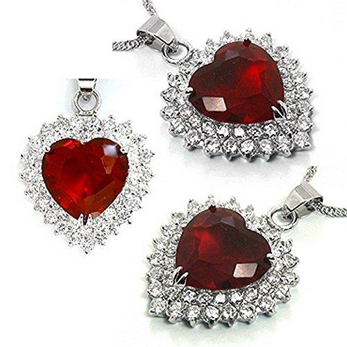Schöner großer Herzförmiger Kettenanhänger Herz, im Stil von Kate Middletons Verlobungsring Farbe: rubin