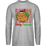 Weihnachten & Silvester - Merry Pawsmas - M - Grau meliert - BCTU005 - Herren Langarmshirt