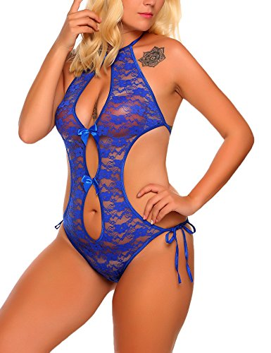 ADOME große größen Damen Spitze Reizwäsche Negligee One Piece Dessous Bodysuit Halter Lace See-through Teddies Nachtwäsche Baby Dolls (Baby Lace Doll)